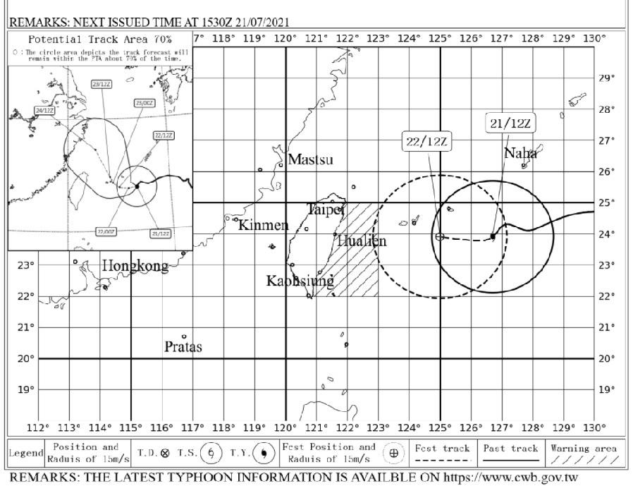 Alerte maritime pour le typhon In-fa